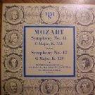 """MMS Mozart Symphony #17 & #41 10"""" LP record album, 1950's, EX"""