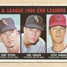 1967 Topps baseball card #233 ERA Leaders Gary Peters, Joel Horlen, Steve Hargen VG