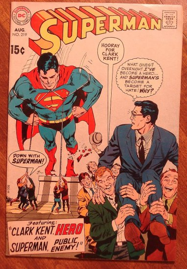 Superman #219 (1969) comic book - DC Comics, VG/Fine condition