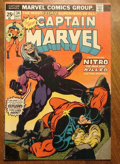 Captain Marvel #34 (1974) comic book, Fine condition - Marvel Comics