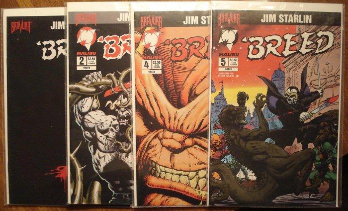 Breed #'s 1, 2, 4, 5 comic book - Bravura Comics, Jim Starlin