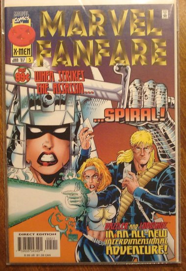 Marvel Fanfare #5 (1990's series) comic book, Marvel comics, Spiral, Dazzler, Longshot