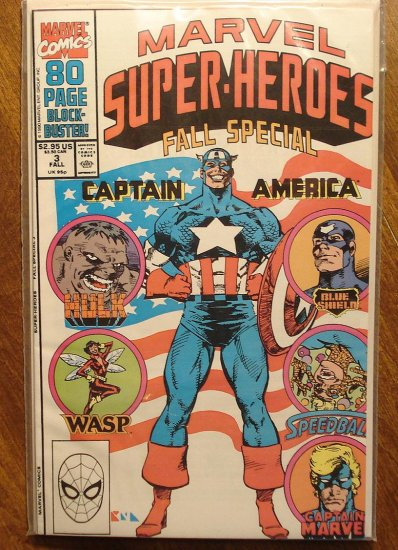 Marvel Super-Heroes 1990 Fall Special comic book, Captain America, Hulk, Wasp, Captain Marvel
