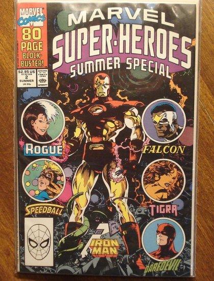 Marvel Super-Heroes 1990 Summer Special comic book, Iron Man, Rogue, Falcon, Daredevil, Tigra