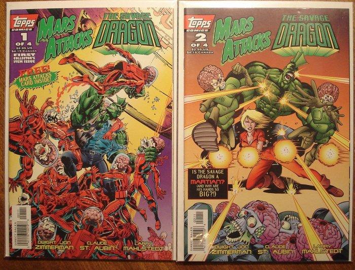Mars Attacks / The Savage Dragon #'s 1 & 2 comic book - Topps comics