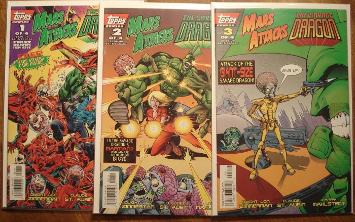 Mars Attacks / The Savage Dragon #'s 1, 2, 3 comic book - Topps comics