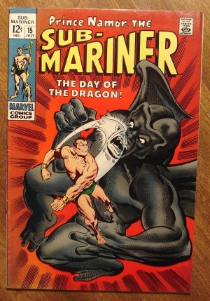 The Sub-Mariner #15 (1969) comic book, Marvel Comics, The Dragon (Dragonman), VF- condition!