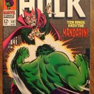Incredible Hulk #107 (1968) comic book, Marvel Comics, VF condition, Mandarin, Nick Fury