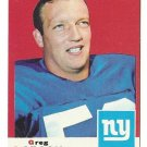 1969 Topps football card #106 Greg Larson EX New York Giants