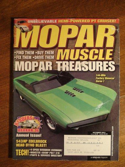 Mopar Muscle magazine October 2001, Daroo 1 concept car, Hemi PT Cruiser, Edelbrock heads