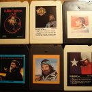 Willie Nelson 8-Track tape assortment #1, 6 tapes - Live, Minstrel Man, Always on my Mind