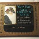 Correct style hat glass movie film advertising slide (Magic Lantern)