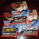 Mattel Hot Wheels Pullbax cars - Speed Racer Mach 5, GRX, Racer X - All MIP