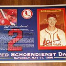 St. Louis Cardinals Red Schoendienst Day May 1996 commemorative photo card 8.5 x 11