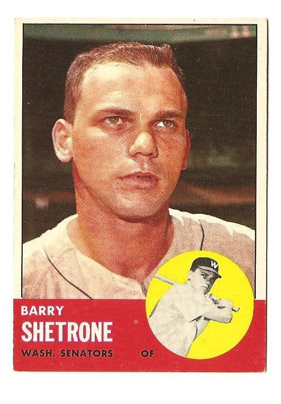 1963 Topps baseball card #276 Barry Shetrone VG/EX Washington Senators