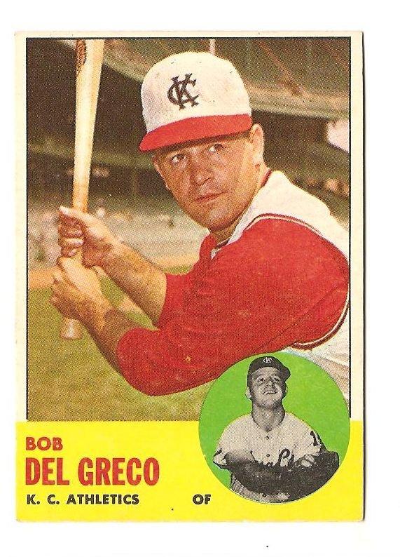 1963 Topps baseball card #282 Bob Del Greco EX/Nm Kansas City A's Athletics