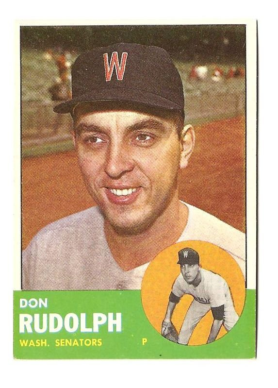 1963 Topps baseball card #291 Don Rudolph EX/NM Washington Senators