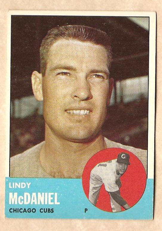 1963 Topps baseball card #329 Lindy McDaniel VG Chicago Cubs