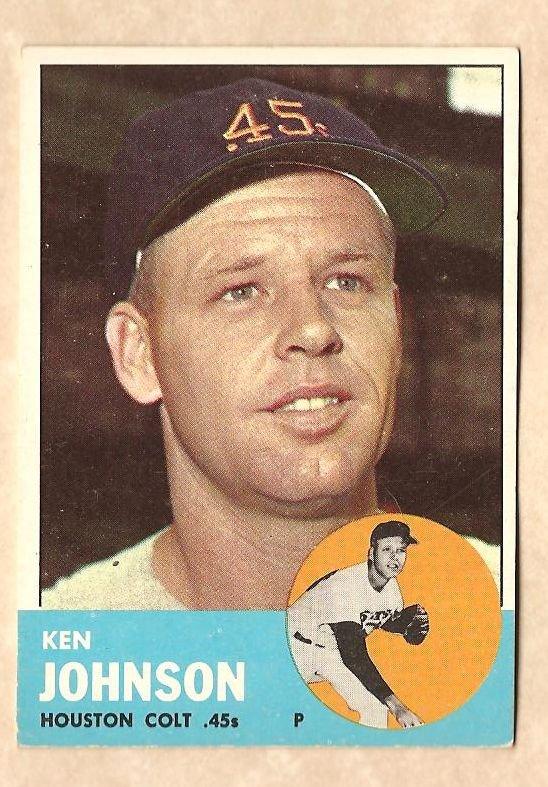 1963 Topps baseball card #352 Ken Johnson VG/EX Houston Colr 45's