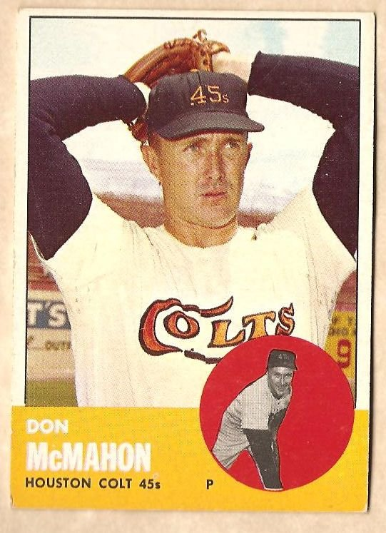 1963 Topps baseball card #395 Don McMahon VG/EX Houston Colt 45's