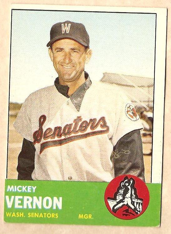 1963 Topps baseball card #402 Mickey Vernon VG/EX Washington Senators