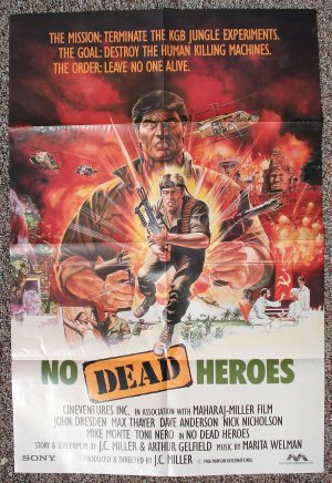 No Dead Heroes movie poster 24 x 36 folded, John Dresden, Max Thayer, Dave Anderson
