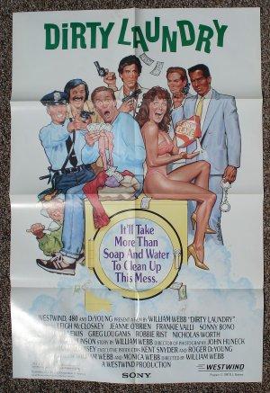 Dirty Laundry movie poster 24 x 36 folded, Leigh McCloskey, Sonny Bono, Frankie Valli