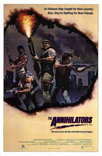 The Annihilators movie poster 27 x 40 folded, never displayed, Viet Nam vets (like Rambo)
