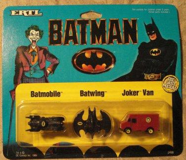1989 Ertl Batman micro Batmobile, Batwing, Joker Van, MINT in card never opened!