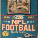1990 Score Football card wax box, 36 packs, never opened, 16 cards/pack