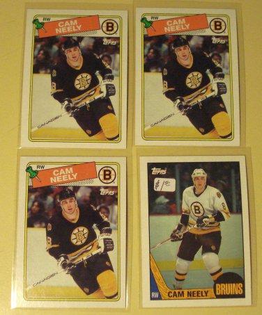 4 Cam Neely Hockey cards, Topps, 1987/88, 1988/89, nm