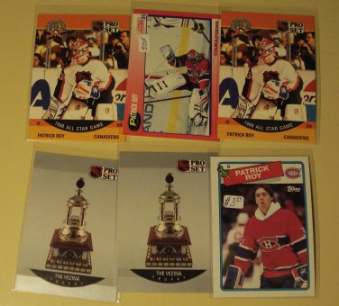 6 Patrick Roy Hockey cards, Topps, Pro Set, Score NM/M