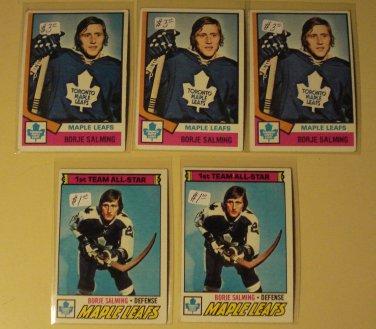 5 Borle Salming Hockey cards, Topps 1977/78 #140, 1974/75 #180