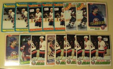 16 Bryan (Brian) Trottier Hockey cards, Topps, various years