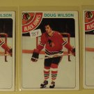 Three (3) 1978/79 Topps Doug Wilson Hockey card #168, Chicago Blackhawks