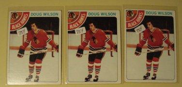 Three (3) 1978/79 Topps Doug Wilson Hockey card #168, Chicago Blackhawks