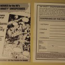 Marvel Comics Guardians of the Galaxy sweepstakes entry form flyer. 1990