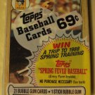 Unopened 1987 Topps Cello baseball card pack - Barry Bonds on top