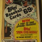 Unopened 1987 Topps Cello baseball card pack - Wally Joyner on top