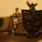 Regal looking shield style crest silver colored tie clip, beautiful condition