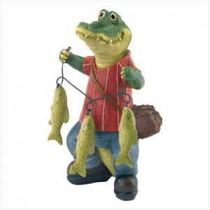 CROCODILE FISHERMAN FIGURINE