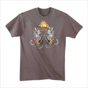 FLAMING GUITAR T-SHIRT - Medium