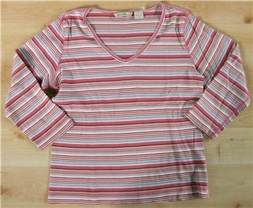 Eddie Bauer shirt sz Small womens v-neck 00714