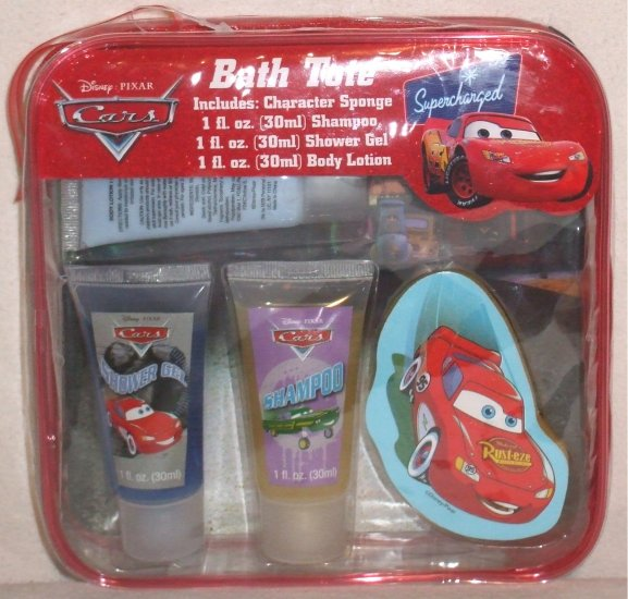 Disney Pixar CARS Bath Tote sponge shampoo gel lotion NEW 001050