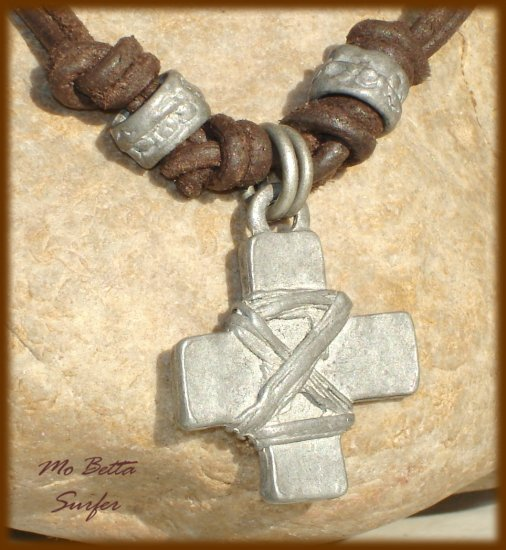 Pewter Cross with Rope Leather Cord Surfer Necklace