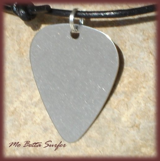 Leather Cord Adjustable Surfer Necklace with Stainless Steel Guitar Pick