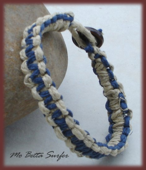 Natural and Blue Hemp Reversible Surfer Bracelet or Anklet