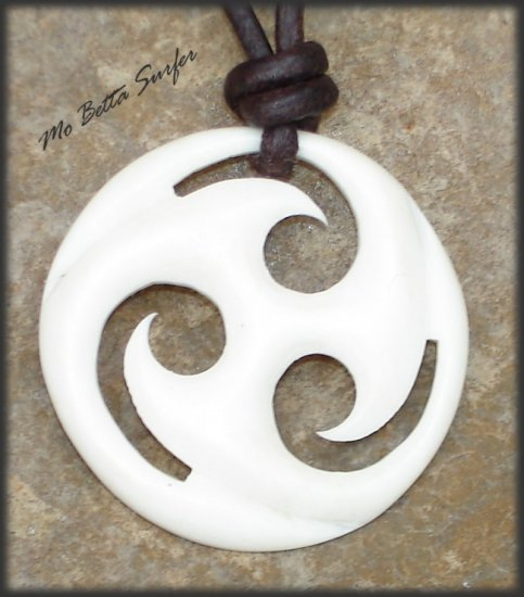 Leather Surfer Necklace Carved Bone Celtic Triskelion