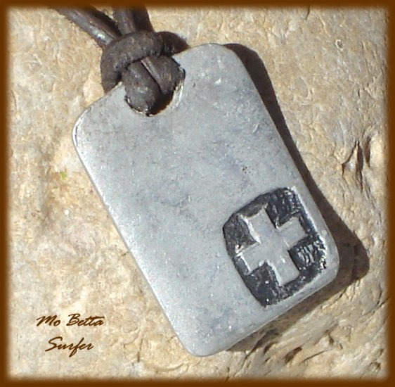 Men's Distressed Leather Surfer Necklace with Pewter Cross on Tag