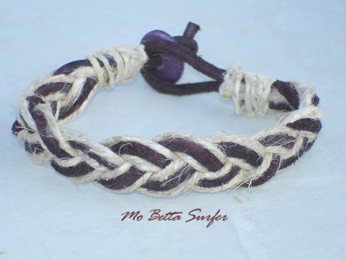 Distressed Leather and Hemp Braided Sailor's Bracelet